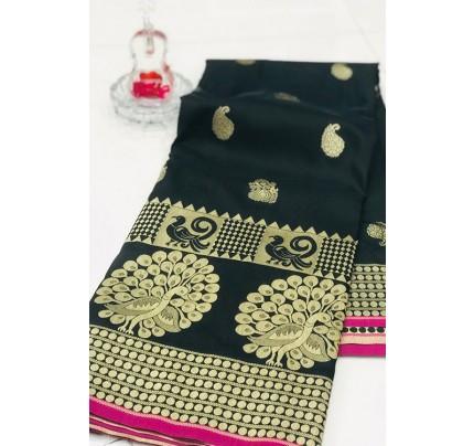Black Banarasi Silk Golden Zari Weaving Saree - gnp007942