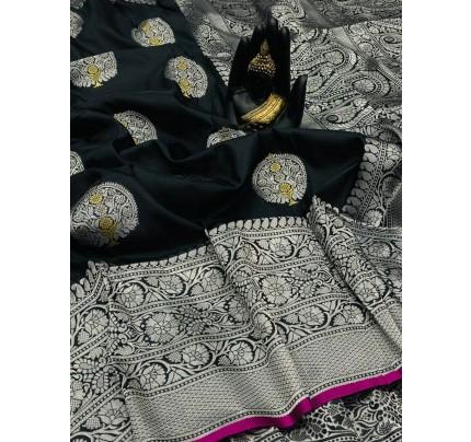 Black Banarasi Silk Weaving Jacquard Saree With Rich Pallu - gnp009530