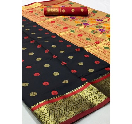 Black Paithani Silk Traditional Saree