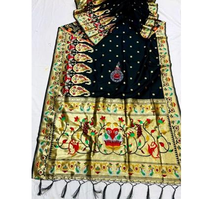 Black Pethani Silk Saree With Full Jacquard Weaving Big Border - gnp0108784