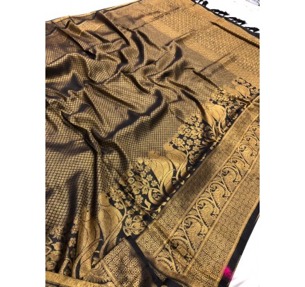 Black Pure Banarasi Silk with Pure Gold Kasab Zari Yarn - gnp010047