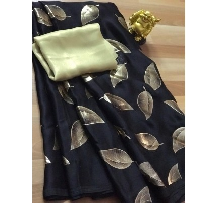 Black satin silk saree with golden satin Blouse - silk sarees online