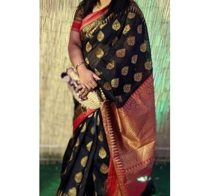 Black Soft Banarasi Silk Weaving Saree - gnp007951