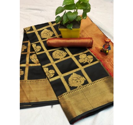 Black checks Banarasi silk zari work saree - banarasi silk sarees online shopping