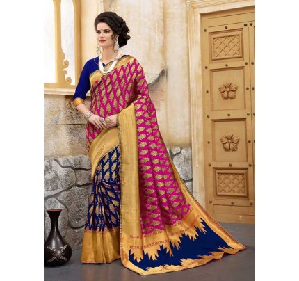 Blue and Pink Colored Beautiful Soft Banarasi Silk Fancy Saree Online