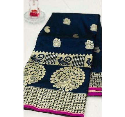 Blue Banarasi Silk Golden Zari Weaving Saree - gnp007943