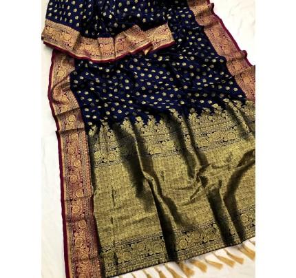 Blue Banarasi silk Party wear saree gnp0108378 | Function Special Offer
