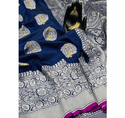 Blue Banarasi Silk Weaving Jacquard Saree With Rich Pallu - gnp009531