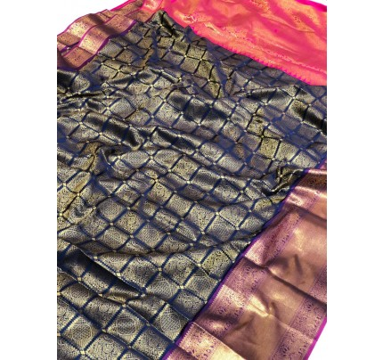 Blue Banarasi Silk With Zari Work Saree - gnp009390