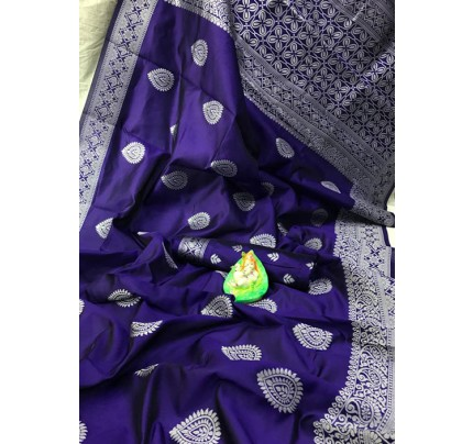 Blue Banarasi Silk Woven Saree with Silver Zari - gnp006173