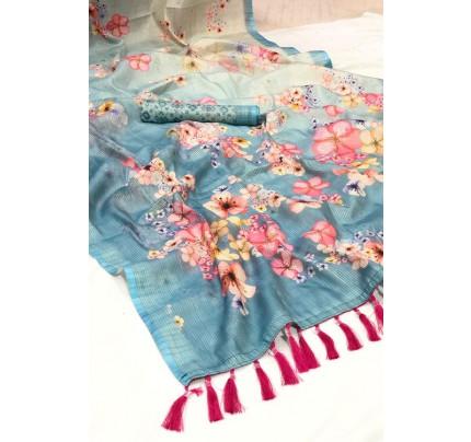 Blue Beautiful Japanese Rainbow Silk Saree - gnp006961