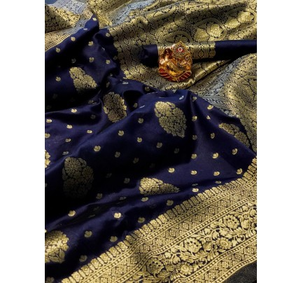 Blue Colored Banarasi Silk Saree with Gold Zari Weaving - gnp010141