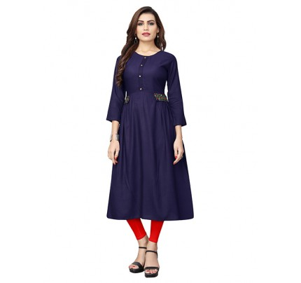 Blue Colored Beautiful Embroidered Rayon Pleated Kurti With Stylist Button