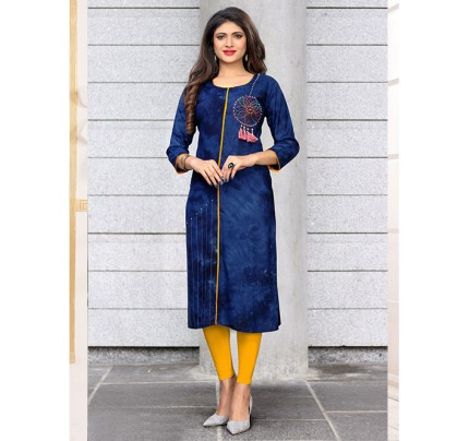 Blue Colored Beautiful Embroidered Straight Rayon Kurti