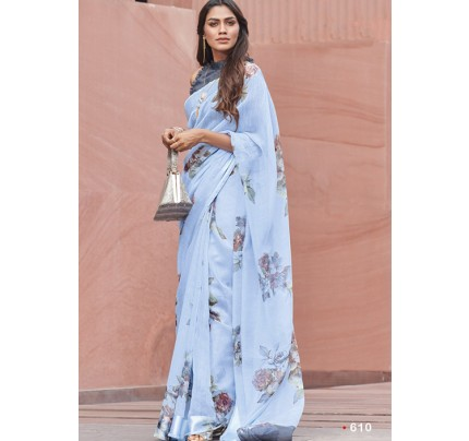Blue Colored Beautiful Linen Silk Floral Printed Saree Online