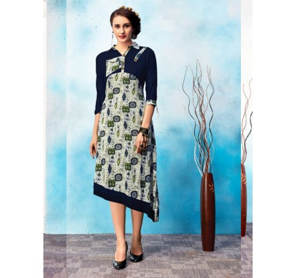 Blue Colored Beautiful Printed Asymmetric Rayon Kurti.