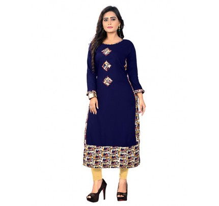 Blue Colored Beautiful Printed Straight Reyon Kurti With Best Quality