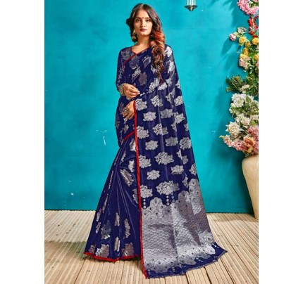 Blue Colored Beautiful Weaving Banarasi Silk Saree - Silver