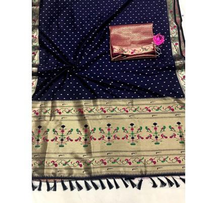 Blue Pure Soft Mina Zari Weaving Paithani Saree - gnp0108743