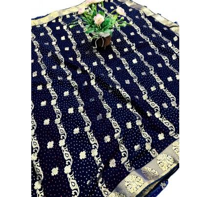 women's Blue marbal chiffon foil printed saree gnp0107734