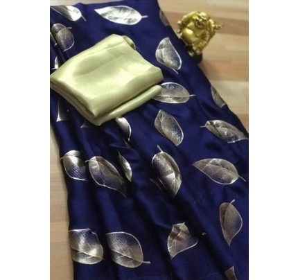 Blue satin silk saree with golden satin Blouse - silk sarees online