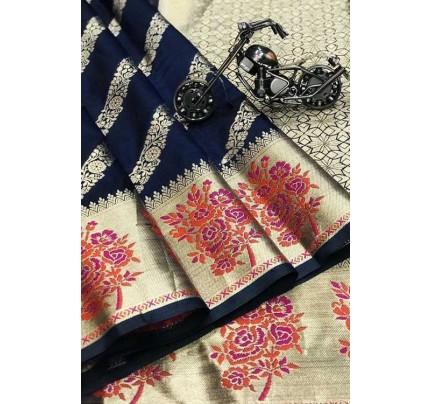 Blue Silk Banarasi Handloom Saree - gnp006421