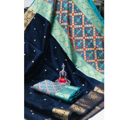 Blue Soft Banarasi Cotton Silk Saree - gnp007994
