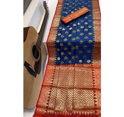 Blue Soft Banarasi Silk Weaving Saree - gnp007952