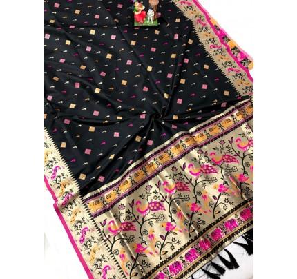 Women's Branded Black Lichi silk saree in Black gnp0108391