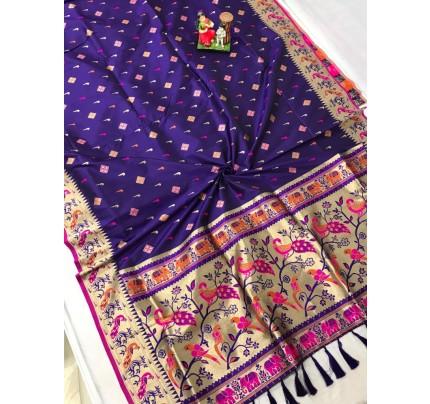 Women's Branded Traditional Lichi silk saree in Blue gnp0108392