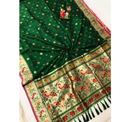 Women's Branded Traditional Lichi silk saree in Green gnp0108395