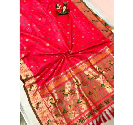 Women's Branded Traditional Lichi silk saree in Peach gnp0108398