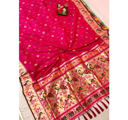Women's Branded Traditional Lichi silk saree in Pink gnp0108396