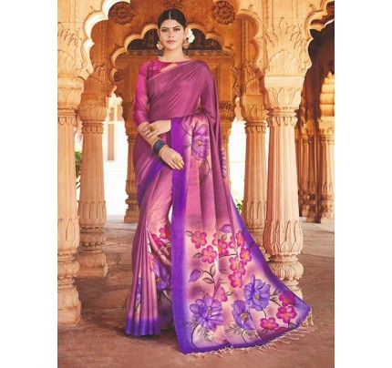Purple Red Colored Beautiful Hand-Printed Tussar Silk Saree