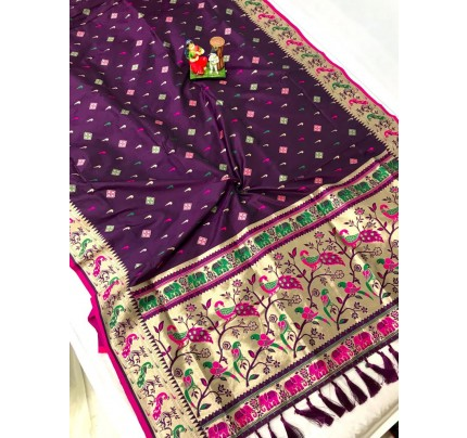 Women's Branded Traditional Lichi silk saree in Purple gnp0108393