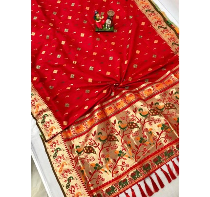 Women's Branded Traditional Lichi silk saree in Red gnp0108397