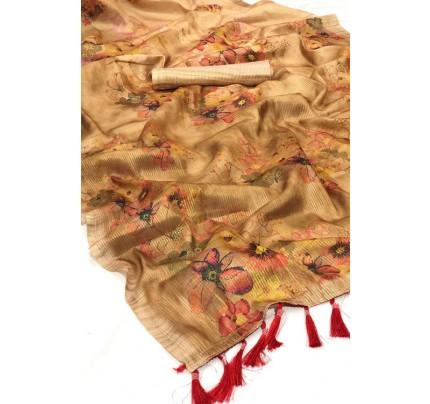 Brown Beautiful Japanese Rainbow Silk Saree - gnp006963