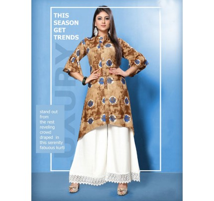 Brown Colored Beautiful Printed Shirt Style A-Line Rayon Kurti With Palazzo Set.