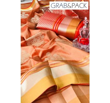 Soft Banarasi silk Weaving Saree gnp007646 - Cream banarasi silk sarees online with price | grabandpack.com