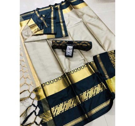 Cream Colored Cotton Silk Saree - Payal