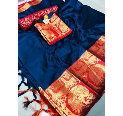 Gorgeous Blue Colored Cotton Silk Indian Traditional Saree