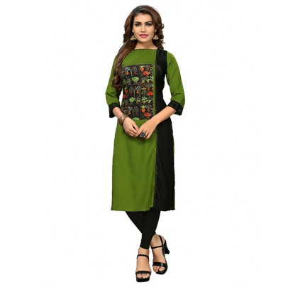 Green and Black Colored Beautiful Printed Stylist Reyon Straight Kurti With Best Quality