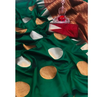 Green Banarasi Silk Golden And Silver Zari Weaving Saree - gnp008695