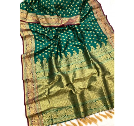 Green Banarasi silk Party wear saree gnp0108375 | Function Special Offer