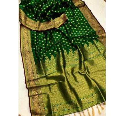 Green Banarasi silk Party wear saree gnp0108376 | Function Special Offer