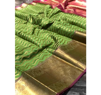 Green Banarasi Silk With Zari Work Saree - gnp009004