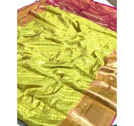 Green Banarasi Silk With Zari Work Saree - gnp009392
