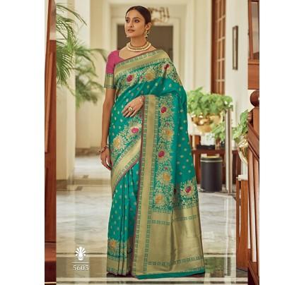 Sea Green Colored Banarasi Soft Silk Saree - gnp0108762