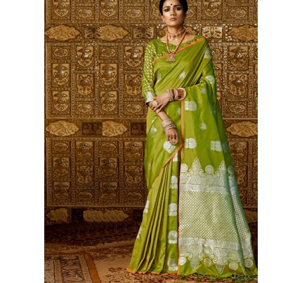 Green Colored Beautiful Branded Silk Weaving Saree- Kanthkala