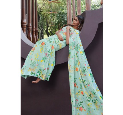 Green Colored Beautiful Linen Silk Floral Printed Saree Online